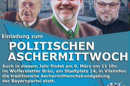 Einladung zum traditionellen politischen Aschermittwoch in Vilshofen